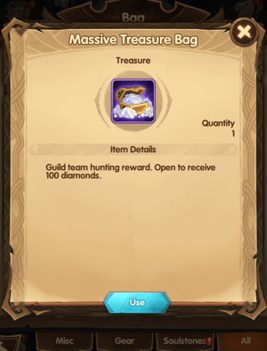 Diamond box reward from guild hunt AFK Arena