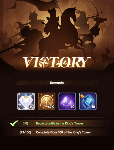 King's Tower diamond rewards AFK Arena