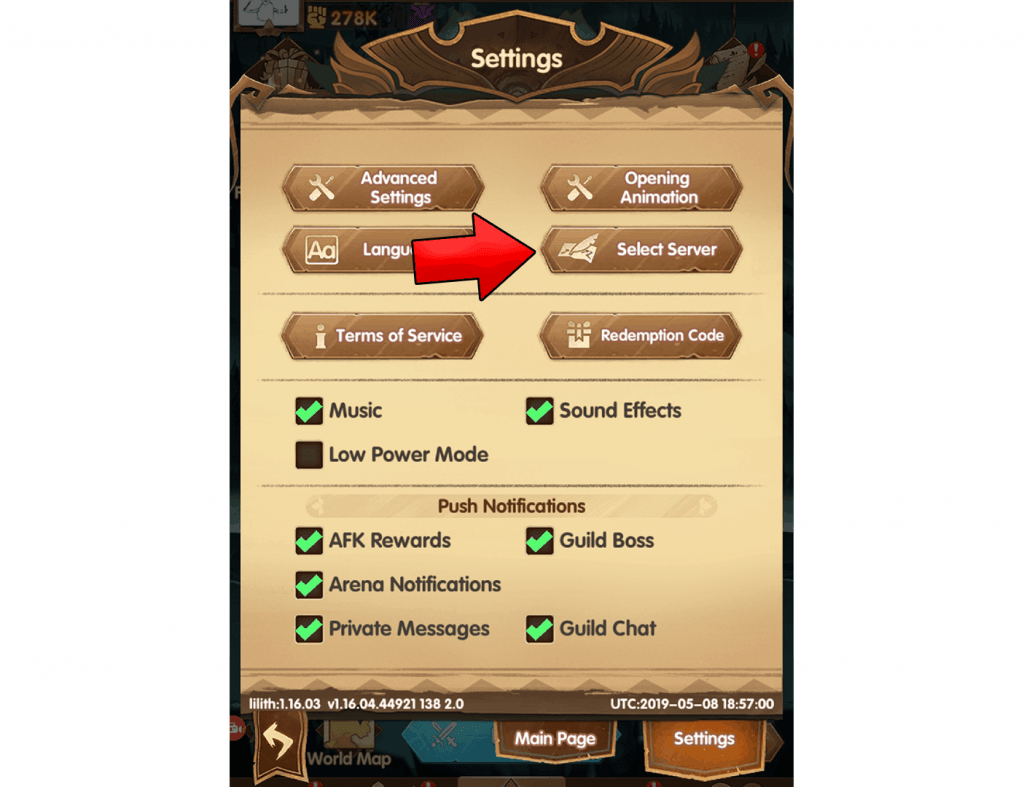 Select different server button AFK Arena