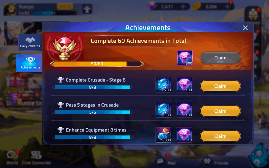 Achievement diamonds rewards Mobile Legends Adventure