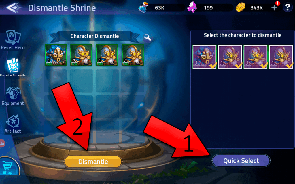 How to dismantle heroes in Mobile Legends Adventure