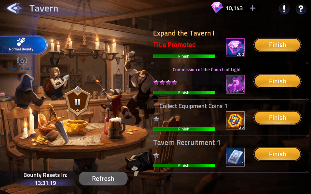 Tavern bounty mission diamonds reward ML Adventure