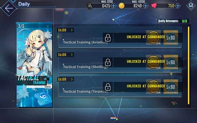 Azur Lane tactical daily training