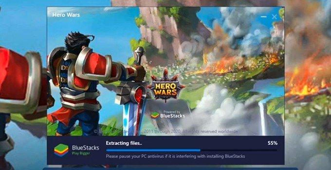 Hero Wars downloading on PC