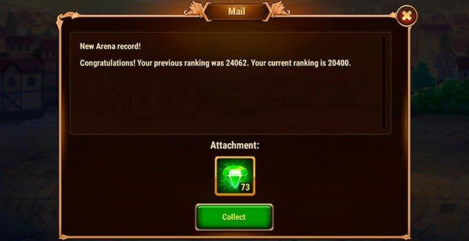 Hero Wars emeralds reward from arena