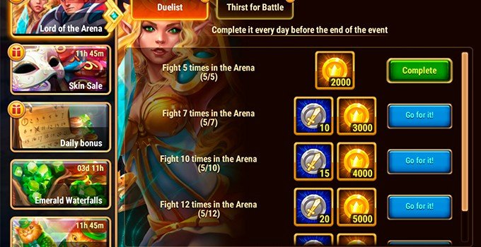 Hero Wars gold rewards from arena event