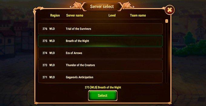 Hero Wars server list