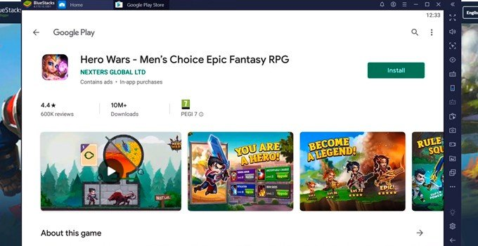 Install Hero Wars on PC page google play