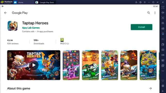 Taptap Heroes Google Play page on Bluestacks