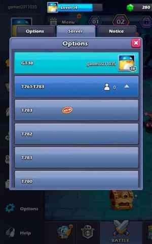 Taptap Heroes servers list