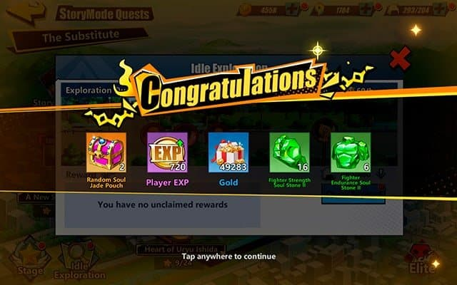 Bleach Immortal Soul gold idle exploration rewards