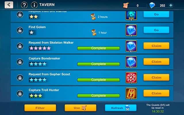 Idle War diamonds in tavern