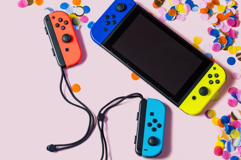 Nintendo Switch video game console party flat lay