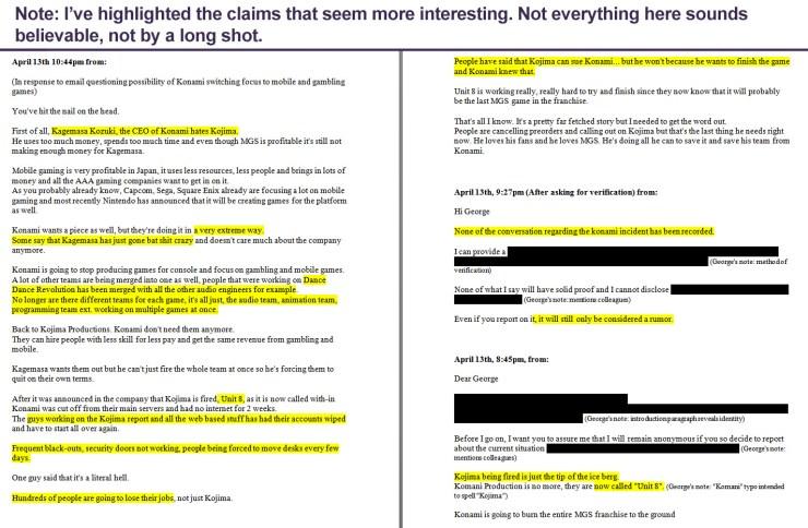 Contenido general de los supuestos correos de un informante anónimo publicados en NeoGAF.