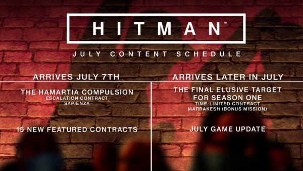 Hamartia Compulsion, Hitman Escalation Contract, Hitman Elusive Target, IO Interactive, Hitman, Hitman July update