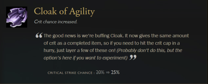 yasuo 100% crit with cloak of agility