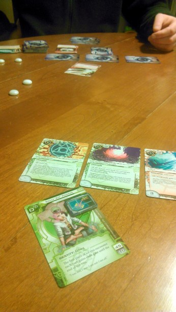 What was played: Netrunner Who played it: Tim and I Why: He likes the game, so I am trying to learn it. +1 to capitalism rolls: I played the hacker this time, but couldn't wrap my head around the corporation this time. As Tim said, it's not a learning curve – it's a learning cliff. Next time!