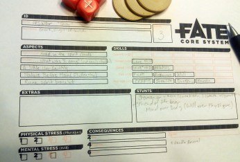 What was played: Fate (An RPG) Who played it: Hubby, myself, and another over 30 couple. Why: It was time to start a new campaign, and this mechanic sounded new and exciting. +1 to successful skill rolls: I am not quick at math like other family members. I dread rolling a d20 and adding my skills and taking away the advantage of the foe. So a mechanic that deals with 4 36 that only have +/- on them so I am only dealing with maybe a skill of 4 with the addition or subtraction of 4 is quite easy to handle so I can concentrate on the story.