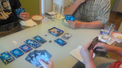 What was played: Hanabi Who played it: Rays Why: Gotta break the ice before delving into darkness +1 rolls: It's cooperative, not cheating to use voice inflection and tell other players what they need to do with the cards, right?