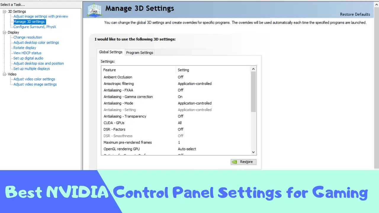 Best NVIDIA Control Panel Settings for Gaming - Gamers Discussion Hub