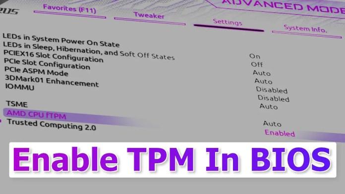 Enable TPM In BIOS
