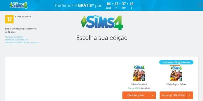 The Sims 4 de graça Origin