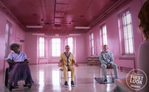 Glass Samuel L. Jackson, James McAvoy, and Bruce Willis