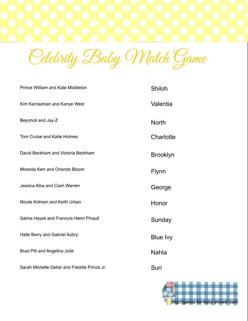 Baby Shower Celebrity Baby Quiz : shower, celebrity, Shower, Game/Party, Printable, Match, Celebrity