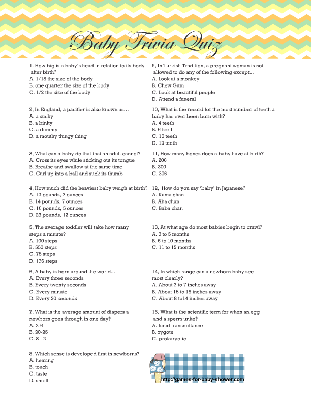 Baby Trivia Questions : trivia, questions, Printable, Shower, Trivia