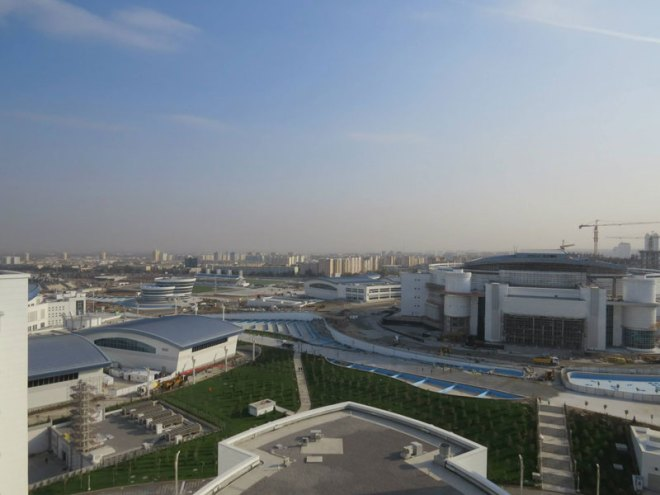 Part of the Ashgabat Olympic Park under construction with world's largest velodrome being readied at far right (GB Photo)