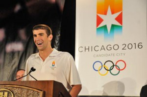 Fourteen-time gold medalist Michael Phelps visits Chicago to be part of the Chicago 2016 bid