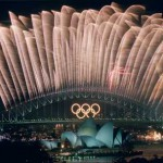 Fireworks over Sydney Harbor Bridge at 2000 Olympic Games