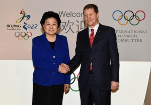 Liu Yandong, Chinese Vice Premier, greets Alexander Zhukov, Chairman of the IOC Evaluation Commission, IOC Member and President of the Russian Olympic Committee, in Beijing (Photo: Beijing 2022)