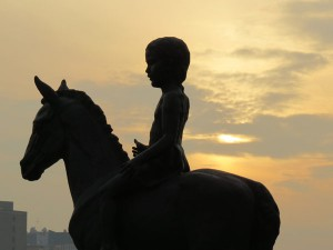 'Boy on Horse' statue at Almaty's Republic Square - the proposed Medals Plaza for 2022 Games (GamesBids Photo)