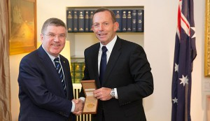 International Olympic Committee (IOC) President Thomas Bach and Australian Prime Minister Tony Abbott in Canberra, April 29, 2015 (IOC Photo)