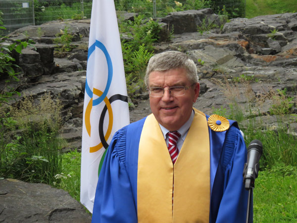 New honorary Montreal citizen IOC President Thomas Bach at University of Montreal (GamesBids Photo)