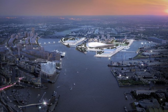 A concept drawing of the Hamburg 2024 Olympic City (Credit: DOSB)