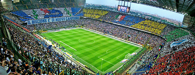 "The Stadio Giuseppe Meazza in Milan, also known as ""San Siro"" could host Olympic football if Rome wins 2024 Olympic bid (Wikipedia Photo)"