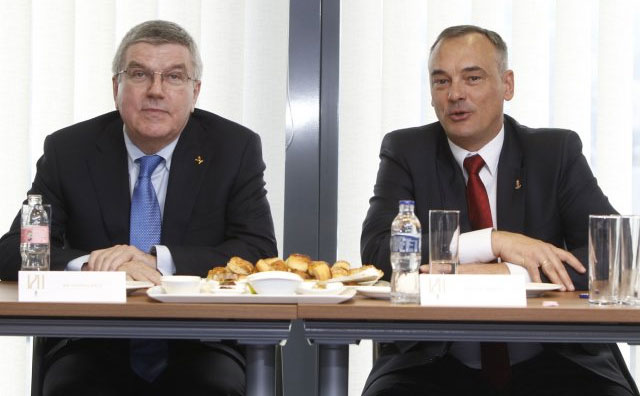 IOC President Thomas Bach (left) and Hungarian Olympic Committee President Borkai Zsolt (MOB Photo)