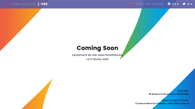 Homepage of Paris2024.org, set to launch February 17, 2024. Does the background hint at possible new logo look?