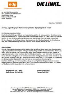 Letter sent to Munich Mayor regarding 2023 YOG bid