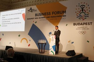 Budapest 2024 Bid Chairman Balazs Furjes addresses Business Forum