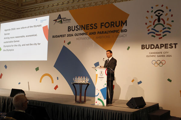 Budapest 2024 Bid Chairman Balazs Furjes addresses Business Forum