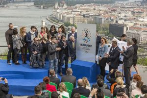 Budapest 2024 Olympic bid logo is unveiled at a ceremony overlooking the Danube River April 14, 2016 (Budapest 2024 Photo)