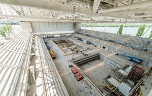 The venue of the 2017 World Aquatics Championship under construction in Budapest, Hungary - May 2016.