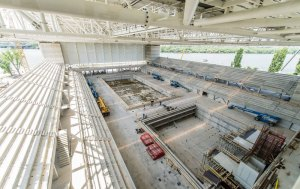 The venue of the 2017 World Aquatics Championship under construction in Budapest, Hungary.