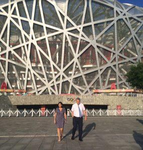 Paris Mayor Anne Hidalgo and IOC Member Guy Drut Visit Beijing Olympic Stadium