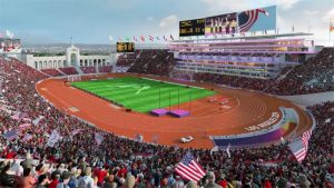 Games time depiction of L.A. Memorial Coliseum in 2024 (YouTube Screen Capture)