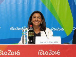 Paris Mayor Anne Hidalgo supporting her city's 2024 bid at Rio 2016 (GamesBids Photo)