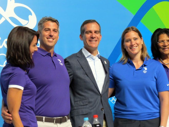 LA 2024 Olympic Bid Team in Rio (left to right) U.S. Olympic Champion Swimmer Janet Evans, Bid Chief Casey Wasserman, LA Mayor Eric Garcetti and U.S. Ice Hockey Olympic Champion (and IOC Member) Angela Ruggiero (GamesBids Photo)